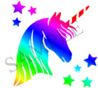 Rainbow Unicorn Stars Iron On Transfer A5 A6 A4 with FREE protective wallet