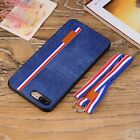 Shockproof Soft Denim Back Cover Case For Apple Iphone 6 S 7 8 Plus X w/Rope