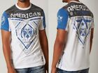 AMERICAN FIGHTER Mens T-Shirt BLUE MOUNTAIN Athletic WHITE Biker Gym MMA $40 image