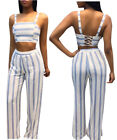 2pc Womens Sleeveless Striped Print Pants Rompers Bodysuit Backless Jumpsuit Set
