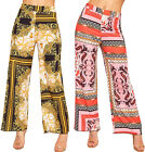 Womens Retro Print Flared Wide Leg High Waist Pants Ladies Palazzo Trousers