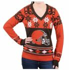 NWT Klew NFL Cleveland Browns Women's V-Neck Sweater Med or XL Christmas Ugly