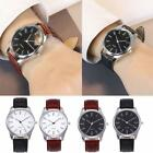 Fashion Men Women Analog Sport Wrist Stainless Steel Case Leather Quartz Watch image