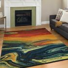 Modern Design Rio Multi Colour Area Rug Contemporary Style Rainbow Thin Carpet