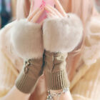 Women Faux Rabbit Fur Fingerless Gloves Mittens Half Finger Gloves Winter Trendy