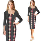 Womens Square Neck Patchwork Color-Block Work Party Casual Bodycon Pencil Dress