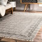 nuLOOM NEW Moroccan Trellis Cotton Blend Flatweave Area Rug in Ivory and Grey