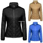 Women Casual Long Sleeve Solid Zip-up Quilted Lightweight Jacket Coats E