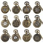 Vintage Retro Antique Pocket Watch Bronze Womens Necklace Chain Quartz Steampunk image