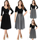 Womens Sexy Elegant Work Office Business Casual Party Flare A Line Skater Dress