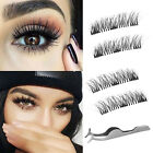 Single/Double/Three Magnetic 3D False Eyelashes 4pcs Long Natural Eye Lashes US