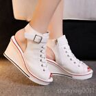 Womens Slingbacks Open toe Lace up Wedge heel Ankle Strap Sandals Shopes Summer