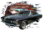 1964 Black Buick Riviera Custom Hot Rod Diner T-Shirt 64 Muscle Car Tee's