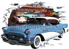 1955 Blue Buick b Custom Hot Rod Diner T-Shirt 55 Muscle Car Tee's