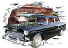 1955 Black Chevy Sedan a Custom Hot Rod Diner T-Shirt 55 Muscle Car Tee's