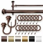 """IMPERIAL 1.25"""" Double Curtain Drapery Rod Set Antique Brown 28""""- 144"""""""