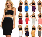 New Womens Elastic Waist Stretch Bodycon Ladies Plain Pencil Midi Skirt 8 - 14