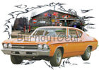 1969 Orange Chevy Chevelle Custom Hot Rod Garage T-Shirt 69 Muscle Car Tees