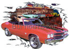 1970 Red Chevy Chevelle SS Convertible Hot Rod Diner T-Shirt 70 Muscle Car Tees