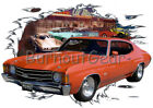 1972 Orange Chevy Chevelle SS Custom Hot Rod Diner T-Shirt 72 Muscle Car Tee's