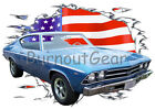 1969 Blue Chevy Chevelle SS c Custom Hot Rod USAT T-Shirt 69 Muscle Car Tees