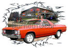 1971 Red Chevy El Camino b Custom Hot Rod Garage T-Shirt 71 Muscle Car Tees