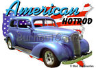 1937 Blue Chevy 2 door Sedan Custom Hot Rod USA T-Shirt 37 Muscle Car Tees