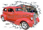 1936 Red Chevy Sedan a Custom Hot Rod Garage T-Shirt 36 Muscle Car Tees