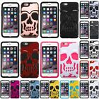 For iPhone 6 6S Plus Skullcap Hard Silicone Soft Hybrid Rubberized Case Cover