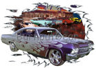 1965 Silver Flames Chevy Impala Custom Hot Rod Diner T-Shirt 65 Muscle Car Tees