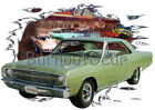 1969 Green Dodge Dart Custom Hot Rod Diner T-Shirt 69 Muscle Car Tees $44.99 USD