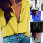 Sexy Womens V-Neck Long Sleeve Satin Loose Blouse Casual Ladies Shirt Tops