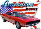 1969 Red Dodge Charger b Custom Hot Rod USA T-Shirt 69 Muscle Car Tees