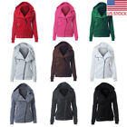 Lady Fashion Warm Hooded Hoodie Jacket Parka Fleece Coat Casual Sideling Zipper