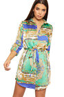 Womens Retro Paisley Print Long Sleeve Satin Shirt Dress Ladies Button Belted