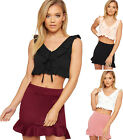 Womens Ruffle Frill Trim Sleeveless V-Neck Crop Top Ladies Strappy Crepe Vest