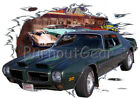 1973 Green Pontiac FireBird b Custom Hot Rod Diner T-Shirt 73 Muscle Car Tees