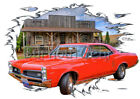 1967 Red Pontiac LeMans Custom Hot Rod Country T-Shirt 67 Muscle Car Tees