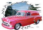1953 Red Chevy Sedan Delivery Custom Hot Rod Mountain T-Shirt 53 Muscle Car Tees