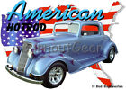 1934 Blue Oldsmobile Coupe Custom Hot Rod USA T-Shirt 33 Muscle Car Tees