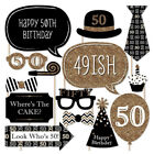 Women Men Birthday Party Photo Booth Props On Stick Mustache Frame Game Decor BK