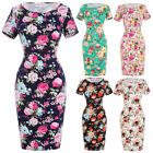 Vintage Floral Short Sleeve Crew Neck Hips-Wrapped Bodycon Pencil Dresses XL QC~