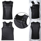 Mens Faux Leather Tank Top Sleeveless Muscle Vest Waistcoats Clubwear Costumes
