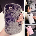 Ladies Luxury Soft Rex Faux Rabbit Fluffy Fur Skin Cover Case For iPhone 6/5 5S
