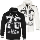 Mens Soulstar Designer Varsity 76 Zip Up Hoodie Jumper Baseball Top Size