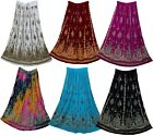 Indian Print Long Sequin  Skirt Size S M L Free Waist Maxi Usa Broomstick Women