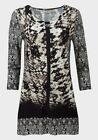 BNWT Epilogue Stretch Abstract Print Beighe & Brown Long Line Top Sizes 10 to 20