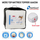 * CLEARANCE *  1200GSM HealthGuard® Washable Mattress Topper SINGLE King Single