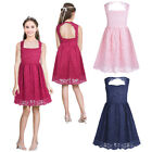 Girls Bridesmaid Dress Kids Flower Girl Lace Floral Party Wedding Princess 4-14Y