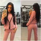Ladies Casual Zipper Hoodie & Pants Gy Suit Sports Wear Solid Workout Suit GIFT